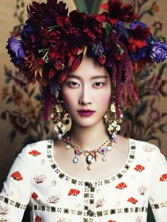 "headdress - Lee Hyun Yi in ""Runaway Bride"" by Kim Youngjun for Harper's Bazaar Korea, November 2012"
