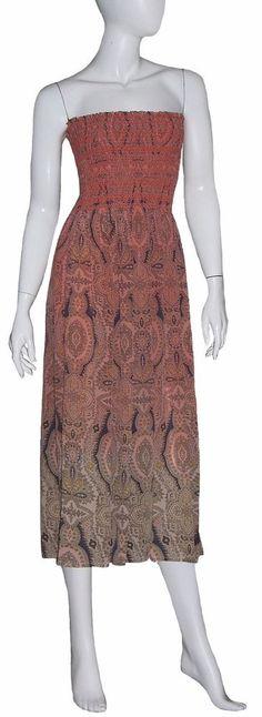 Gypsy 05 Dress NWT Size Medium Pink Multicolor 100% Silk Strapless Smocked #Gypsy05 #Maxi