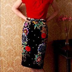Anthropologie Skirts - Anthropologie Baraschi Black Floral Pencil Skirt