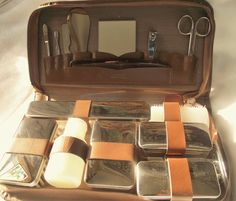 3832d8e440b VINTAGE MEN'S TRAVEL Kit,Vintage Leather Grooming Kit,German Leather Men's  Travel Grooming Kit