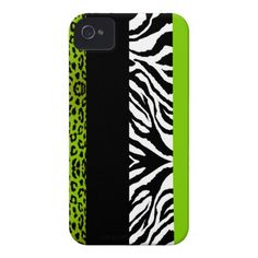 Lime Green Leopard and Zebra Custom Animal Print iPhone 4 Cases