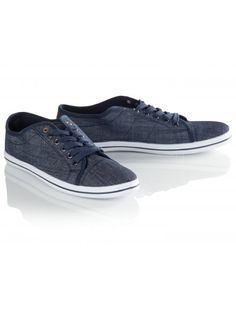 Navy denim lace-up plimsolls for men with a tan PU strip detail at the heel and vulcanized sole. Denim And Lace, Lace Up, Double Denim, Go Blue, Plimsolls, Indigo, Vans, Stylish, Heels