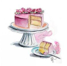 cake illustration by tracy hetzel - Zeichnung Cake Drawing, Food Drawing, Drawing Ideas, Food Illustrations, Illustration Art, Deco Cupcake, Birthday Cake Illustration, Baking Logo, Cake Logo Design