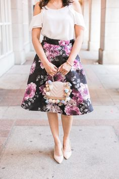 Le Chateau cold shoulder top and flared floral skirt blogger outfit