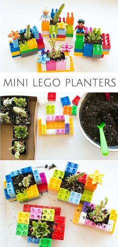 Mini DIY LEGO Planters: Fun Planting and Gardening Project for Kids. Let the kid., DIY LEGO Planters: Fun Planting and Gardening Project for Kids. Let the kids practice their building and engineering skills to make these cute pl. Lego Projects, Garden Projects, Projects For Kids, Diy For Kids, Diy Lego, Lego Craft, Summer Crafts, Fun Crafts, Garden Crafts For Kids