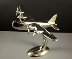 Art Deco Polished Aluminum Sea Plane Desk Model // Chrome Airplane Sculpture    is approx: 10 from front tip to back tip x 9.5 high at the highest