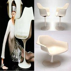 Mid Century MODERN Fiber Glass Euro Saarinen style TULIP CHAIRS swivel arm chairs Eames Era $375/ea