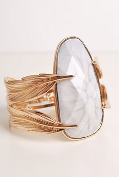 Feather / Agate Cuff Bracelet