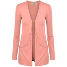 MBJ Womens Lightweight Long Sleeve Draped Open Front Cardigan with... (17 CAD) ❤ liked on Polyvore featuring tops, cardigans, open cardigan, lightweight cardigan, drape cardigan, drape top and red cardigan