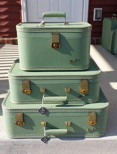 Starline 3 piece vintage luggage suitcase set light by ElanBox, $225.00