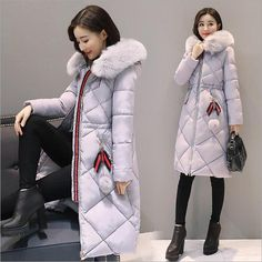 Long Parkas Women Large Fur Collar Hooded Jacket Warm Winter Outwear Thick Padded Cotton Coat Plus Size