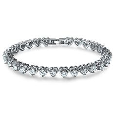 "A TE® CZ Tennis Bracelet Cubic Zirconia Heart Shaped White Gold Plated Christmas Gift 7.5"" JW-B105 ATE http://www.amazon.com/dp/B01564DKQ0/ref=cm_sw_r_pi_dp_X5MAwb1TKF3KS"