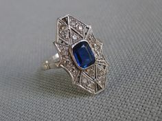 Antique Art Deco Ring Platinum Platina Diamond Sapphire Size 7.75 US