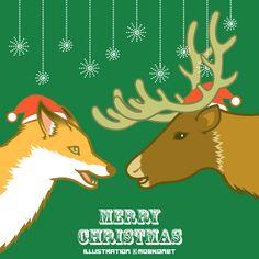 キツネ トナカイ クリスマス fox reindeer Christmas