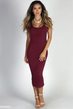 Sexydresses.com Wide Strap Scoop Neck Bodycon Jersey Burgundy Midi Dress