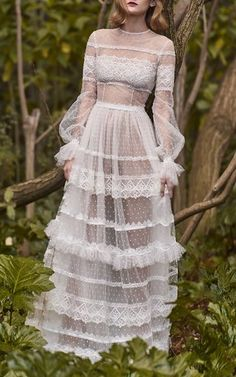 Neo-Romantic Tiered Long Dress by Costarellos