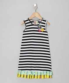 Take a look at this Black & White Stripe Ruffle Flower Dress - Infant, Toddler & Girls by Twirls & Twigs on #zulily today!