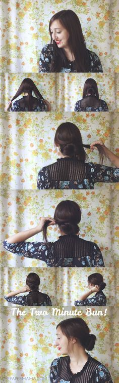 The Two Minute Bun Hair Tutorial // thepapermama.com #fallhairspiration