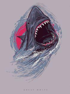 Vector Great White Shark II by depot-hdm on DeviantArt Tribal Shark, Shark Art, Shark Illustration, Illustration Vector, Great White Shark Drawing, Shark In The Ocean, Shark Painting, Types Of Sharks, Megalodon Shark