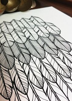 Inspiration for Sketch a day day 18: Feather original drawing 'flapper' layers of feathers in by lightboxing