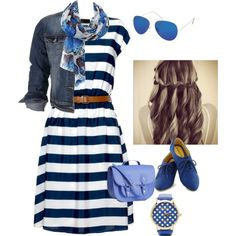 """Beach Day"" #modest #blue #summer summery outfit created by jfalby on polyvore"