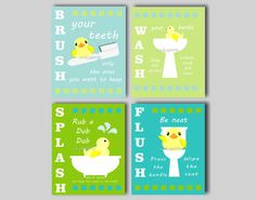 Rubber Duck Bath Art - Rubber Ducky Prints - Brush Your Teeth - Bath Rules… Rubber Duck Bathroom, Baby Bathroom, Bathroom Wall Art, Bath Art, Collage, Wash Brush, Kids Bath, Baby Decor, Colorful Backgrounds