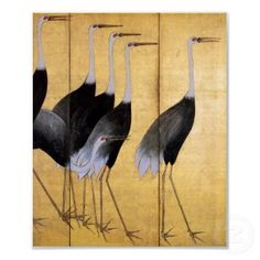 Vintage Japanese cranes screen (detail) - Home Decorating Magazines Japanese Painting, Chinese Painting, Chinese Art, Japanese Crane, Japanese Art, Japanese Style, Painting Prints, Fine Art Prints, Paintings