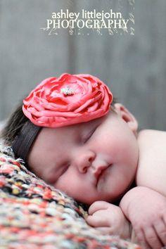 Newborn/baby headband Handmade coral satin by fiftyfourpetunias