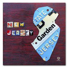 Trademark Fine Art New Jersey License Plate Map Canvas Wall Art - ALI1298-C1414GG