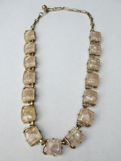 Vintage CORO Pearl Confetti Square Lucite Choker Necklace 17 Inches