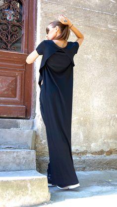 New Black Asymmetrical Top / Long Back Blouse / by Aakasha
