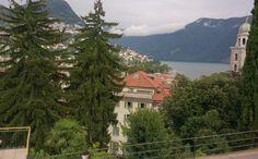 7/28ここLuganoは、湖を挟んで向こうがイタリアという街で公用語はイタリア語。しかし景色(木の形)がいかにもスイスのイメージ通り(^-^)