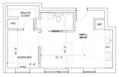 Micro Apartment is a 340 square foot studio apartment that has been designed by Allen+Killcoyne Architects, located in Manhattan, New York. Nyc Studio Apartments, Studio Apartment Layout, Cool Apartments, Studio Floor Plans, Small Floor Plans, Small House Plans, Mini Loft, The Plan, How To Plan