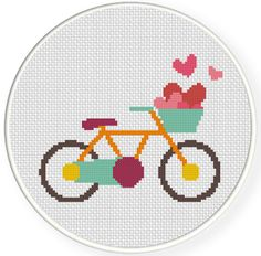 Bike Heart Cross Stitch Pattern