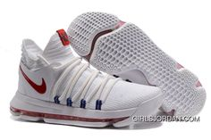 huge selection of 0c38c 42f6f Nike KD 10 White Red Men Shoes Kevin Durant