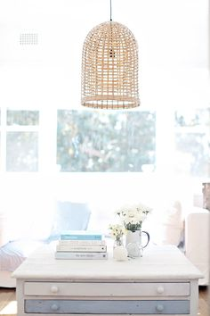 coastal style beachy decor rattan pendant light (C) Photography:&… Beach Cottage Style, Beach Cottage Decor, Coastal Cottage, Coastal Style, Coastal Decor, Coastal Living, Fitbit, French Apartment, Apartment Ideas