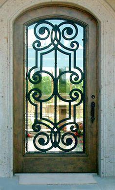 Colletti Design - Iron Door Grill on Wood Entry Door by Colletti Design Paradise Valley, AZ Wood Entry Doors, Entrance Doors, Door Entry, Main Entrance, Doorway, Door Grill, Window Grill, Cool Doors, Unique Doors
