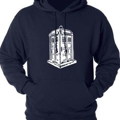 Doctor Who Hoodie Inspired TARDIS Police Box Pullover Sweatshirt What could be more fun than spending all day in the TARDIS (hoodie that is!) Design in Black - Please enjoy our new favorite, a Doctor