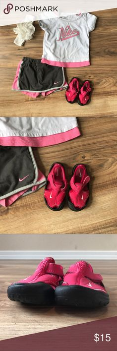 Nike Girls Sunray Protect Size 5C 💗 These are the BEST water shoes. We love them so much we buy a new pair for each child every summer. Good fit, good grip, good protection. A summer must have. Also just great warm weather shoes in general. Nike Shoes Water Shoes