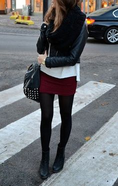 Short Skirt... Opaque black tights... Booties and moto-jacket.