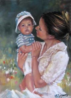 """Mother And Son by Marie Tippets Pastel ~ 12"""" x 9"""""""