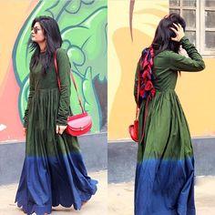 Kasha Khan # shaded pleated tunic # India fusion look