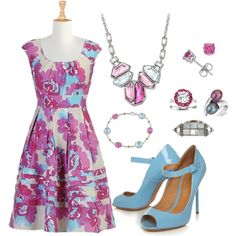 """Azure & Fushia"" by bethherrmann on Polyvore"