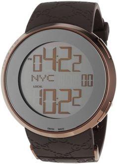 e608cbbc47172 Gucci Men s YA114209 I-Gucci Digital Brown Rubber Strap Watch Luxury Watch  Sale, Gucci