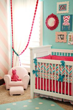 Nursery ideas. This is cute for a little girl. I like the blue with splashes of pink.