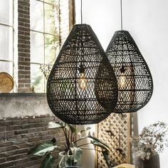 Rattan Lighting Hanging Pendants In Black Or Natural Light Fixtures * Extra Tall & Big Lamp Shades For Large Rooms - Boho Feel & Mix With Industrial at Smithers Uk, US Rattan Pendant Light, Pendant Lighting, Rattan Lamp, Natural Interior, Furniture Care, Cool Lighting, High Ceiling Lighting, Cabin Lighting, Lighting Ideas