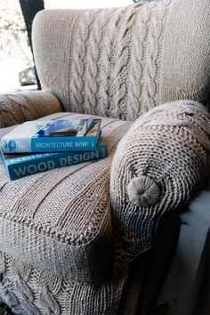 Knitted chair cover.