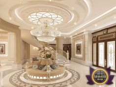 Villa Design In Abu Dhabi Reflects The Atmosphere Of Elegance And  Respectability. Impressive Luxury Décor Of The Hall And The Living Room.