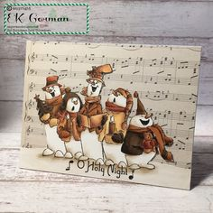 EK Gorman Designs: Art Impressions Jolly Carolers; Copic Markers, sepia tones