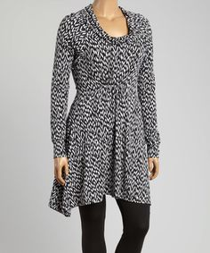 Look what I found on #zulily! Black Abstract Drape Neck Tunic - Plus #zulilyfinds